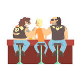 Two Biker Gang Members Scarying Skinny Bar Client, Beer Bar And Criminal Looking Muscly Men Having Good Time Royalty Free Stock Image