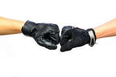 Two biker glove punching Royalty Free Stock Photo