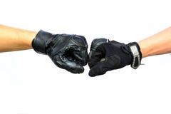 Two biker glove punching Royalty Free Stock Photo