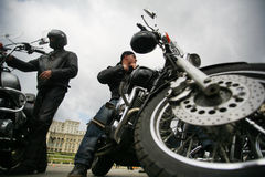 Two bikers stock image