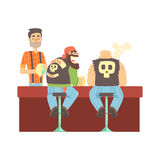 Two Bikers Chatting At The Counter In Leather Vests And Jeans , Beer Bar And Criminal Looking Muscly Men Having Good. Time Illustration. Part Of Series Of Stock Photo