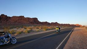 Two bikers driving through the West of the United States. Pure Freedom. Video clip stock footage