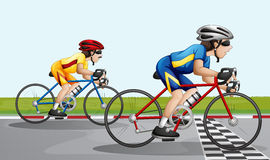 Two bikers racing. Illustration of the two bikers racing Royalty Free Stock Photography