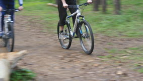Two bikers riding a bike on pathway in forest. Mountain bikers passing by the camera in a green woods. Active men stock video footage