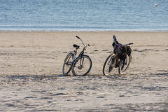Two Bikes on Empty Beach Royalty Free Stock Photography