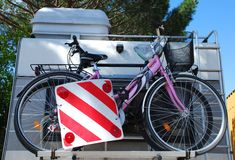Two Bikes on a Motorhome Bike Rack Royalty Free Stock Photos