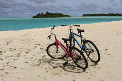 Two Bikes on Sand Stock Image