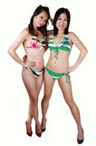 Two bikini girls. Two young pretty woman in colorful bikinis with long brunet and black hair Royalty Free Stock Image