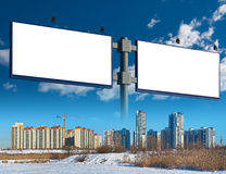 Two billboard and apartment complex royalty free stock images