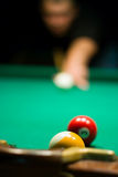 Two billiard ball on the table Royalty Free Stock Image