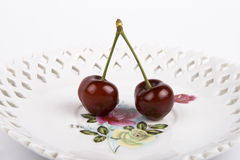 Two Bing Cherries Royalty Free Stock Photo