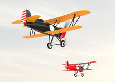 Two biplanes flying in the sky. Stock Photo