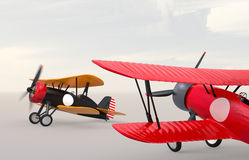 Two biplanes on the ground. royalty free illustration