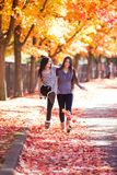 Two teen girls walking together under colorful autumn maple tree Stock Photos