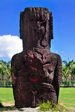 Two bird carvings on the back of an moai. Bird carvings on standing moai in Easter Island stock photo