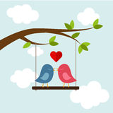 Two bird in love on the tree 2. Two bird kissing on the swing. Vector illustrations Stock Photography