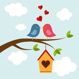 Two bird in love on the tree. Two bird kissing on the tree. Vector illustrations Stock Photo
