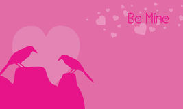 Two bird on pink backgrounds valentine day. Vector art vector illustration