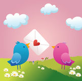 Two birdie in love. Eps vector lovo birdie for san valentine Royalty Free Stock Photos