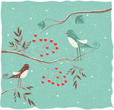 Two birds on the branch. Winter background stock illustration