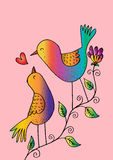Two birds on a branch. Hand drawing illustration royalty free illustration