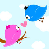 Two birds on branch with heart leaf so sweet Royalty Free Stock Photos