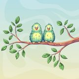 Two Birds On Branch. Two birds are sitting on a branch stock illustration