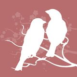 Two birds on a branch. Vector illustration Royalty Free Stock Photography