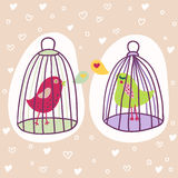 Two birds in cages. Romantic cartoon illustration Stock Photos