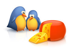 Two birds and cheese Stock Photo