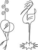 Two birds. Crane and heron. Stylisation. Are drawn by one line. There is vector variant of drawing vector illustration