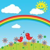 Two birds in a field singing. Illustration of two birds in a field singing Stock Image