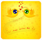 Two birds flaping the wings are in love. Happy valentine's day card with two cute birds in love Stock Photo