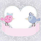 Two birds and heart. Greeting card with two stylized birds and heart Stock Photo