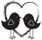 Two birds and heart Stock Images