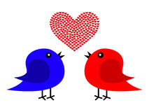 Two birds and heart Royalty Free Stock Images