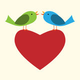 Two birds on heart Stock Image