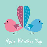 Two birds with heart tails. Happy Valentines Day c Stock Photo