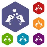 Two birds with hearts icons set hexagon Stock Image