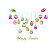 Two birds hold rope with easter eggs Stock Images