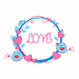 Two Birds Holding Garland Heart Shape Love Greeting Card Valentine Day Royalty Free Stock Photography