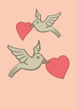 Two Birds Holding Heart Shape in Beaks and Flying in Air. Vector illustration of two birds flying in the air and holding red heart shape with their beaks Royalty Free Stock Photography