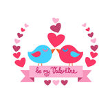 Two Birds Kiss Heart Shape Valentine Day Red Royalty Free Stock Photos