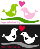 Two Birds in Love. A cute St. Valentines or Saint Valentine s Day illustration with a couple of birds in love, on white and black background. Eps file available Royalty Free Stock Photos