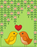 Two Birds in Love. Abstract background with two birds in love Royalty Free Stock Image