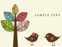 Two birds on the love date. Vintage vector card Royalty Free Stock Image