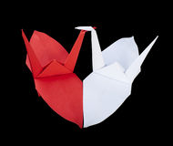 Two birds in love with heart shape. Folded origami style Royalty Free Stock Photo