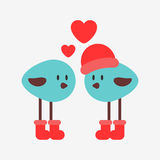 Two birds in love. Two little birds in love royalty free illustration