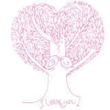 Two birds in love. Two birds on love tree, hand drawn illustration vector illustration