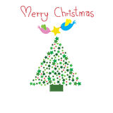 Two birds put the star on top of Chirstmas tree with word Merry Christmas Stock Photos